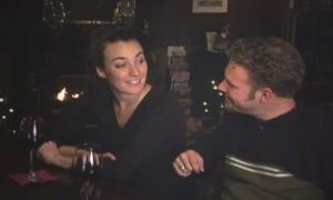 woman & man at bar