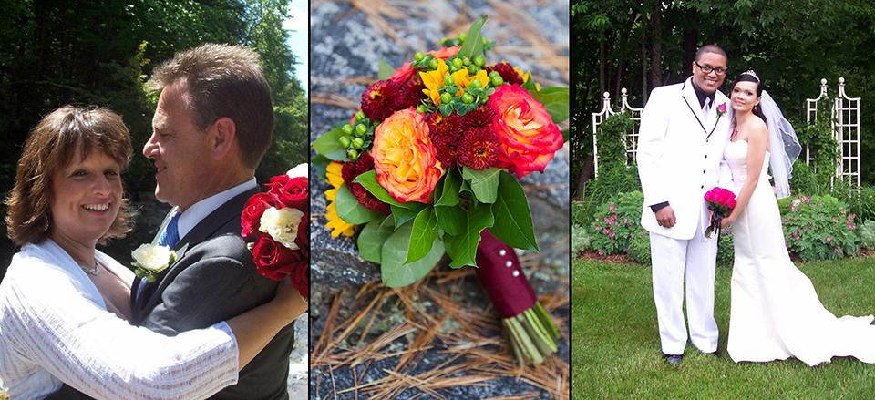 bride & groom hugging, yellow & burgunday wedding bouquet, bride & groom standing in front of garden